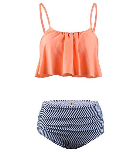 Surenow Women Falbala Flounce High Waist Bikini Two Piece Tankini Suit Swimwear