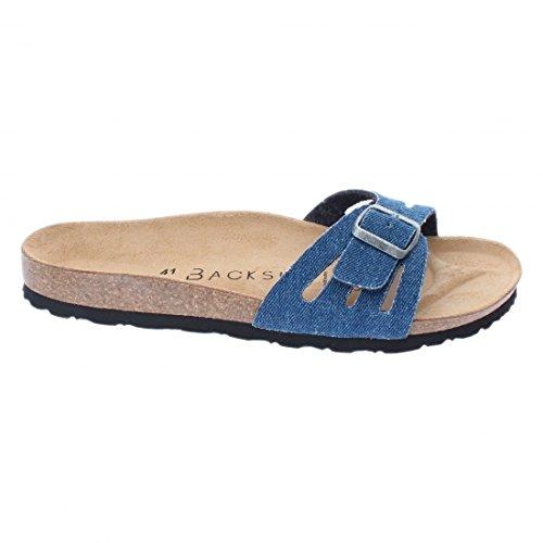 Backsun - Tongs / Sandales - Venecia Homme Bleu Jean Semelle Noire - Bleu