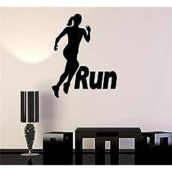 smalop Vinyl Removable Wall Stickers Mural Decal Art Run Running Girl Woman Sport Motivation