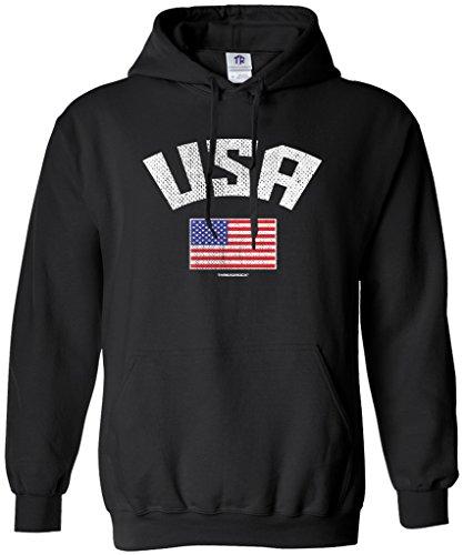 Threadrock Women's USA American Flag Hoodie Sweatshirt S Black