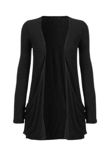 Hot Hanger Ladies Plus Size Pocket Long Sleeve Cardigan 16-26 (24-26 XXXL, Black)