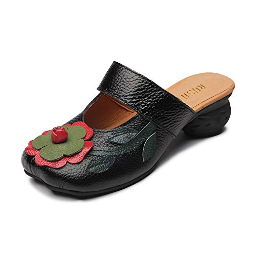 daim Couleur 37 confortables à faites mules Noir Zhrui talon et taille avec en la Chaussures fleur pour Eu femmes jaune main sur qwpCSvxF