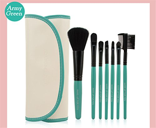 7 PCS Makeup Brushes Set Tools Make-Up Toiletry Kit Wool Case Cosmetic Foundation Brush Army Green