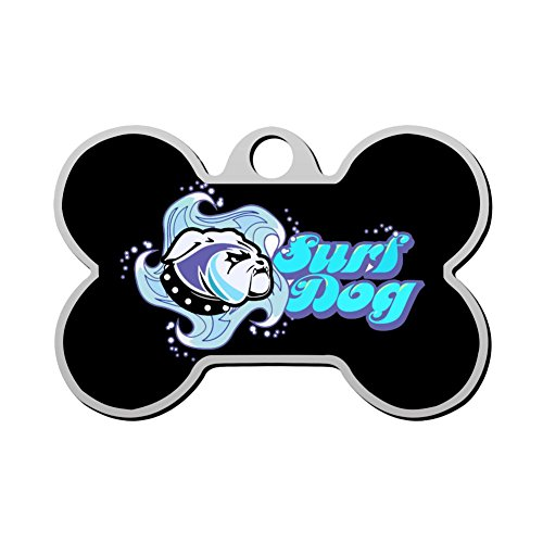 HAOPENGYOU Surf Dog Sea Glass Custom Pet ID Tags Personalized Print Front and Back Bone Shape Dog Tags & Cat Tags ()