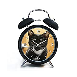 Twin Bell Analog Alarm Clock-Loud Alarm Clock(black)Custom pattern-026.black and white tuxedo cute cat kitten by mariposavet