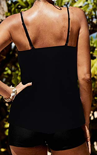 CIZITZZ Women's 2 Piece Swimsuits High Neck Halter Printed Tankini Sets Tummy Control Bathing Suit,Black,S