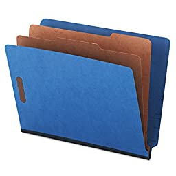 Universal 10318 PB End Tab Folders, 6-Section, Letter Size, Blue, 10/Box