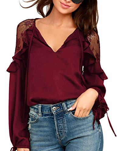 Blooming Jelly Womens Chiffon Blouse Tie V Neck Long Sleeve Lace Patchwork Ruffles Chic Tops(Medium, Burgundy)