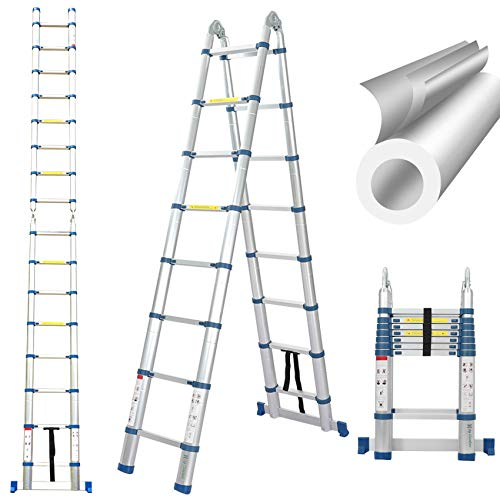 16.5 Ft Telescoping Ladder, Extension Ladder, A-Frame Portable Folding Ladder Aluminium Lightweight 330lb Load Capacity…