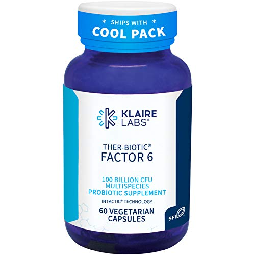 Klaire Labs Ther-Biotic Factor 6 Probiotic - 100 Billion Ultra Strength CFU, The Original Hypoallergenic Probiotic for Men & Women, Dairy-Free Digestive Support (60 Capsules) (Factor 6)