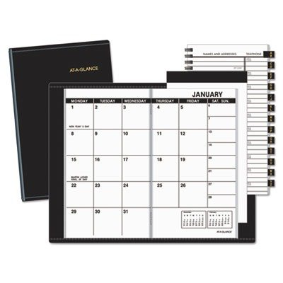 AT-A-GLANCE Recycled Monthly Planner, 3 x 6 Inches, Black, 2013 (70-064-05) -