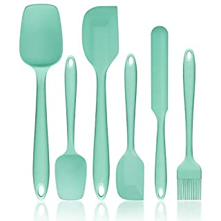 Silicone Spatula Set, G.a HOMEFAVOR Heat-Resistant Spatula - One Piece Seamless Design, Rubber Spatula Non-Stick for Cooking, Baking and Mixing (6 Piece Set, Mint Green)