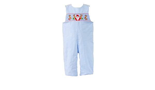 9ab783684 Amazon.com: Anavini Hand-smocked Boys Christmas Overalls, Blue, 12m: Infant  And Toddler Overalls: Clothing