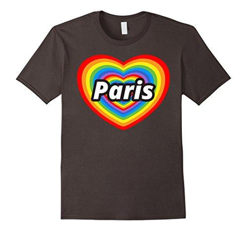 Mens I Love Paris T-Shirt, I Heart Paris, Je t'aime Paris T-shirt Medium Asphalt