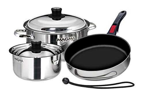 Nesting Set - Magma Products, A10-363-2, Gourmet Nesting 7-Piece Stainless Steel Cookware Set with Ceramica Non-Stick