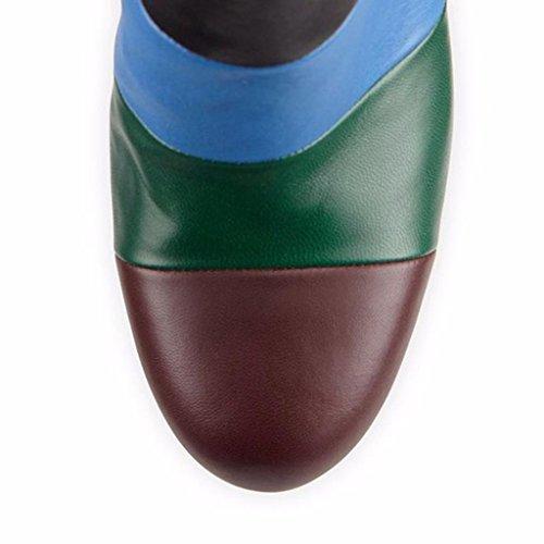 Pelle Taglia stivali A tallone 8003FD Booties della Mostra da 35 A Autunno Inverno gli Scarpe dell'alto banchetto 44 caviglia impermeabili Stivaletti della signora larga ITwxxaBq