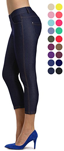 Prolific Health Women's Jean Look Jeggings Tights Slimming Many Colors Spandex Leggings Pants Capri S-XXXL (XX-Large, Navy Blue Capri) -