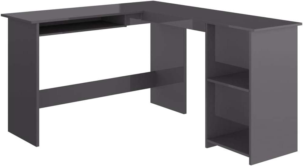 vidaXL Escritorio de esquina en forma de L, para ordenador, escritorio, escritorio, mesa de oficina, mesa en ángulo, mesa de trabajo de color gris brillante, 120 x 140 x 75 cm, aglomerado