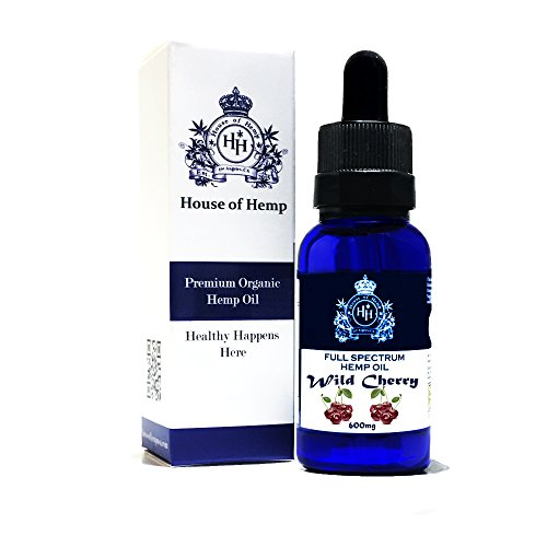 House of Hemp Premium Full Spectrum Hemp Oil | Pain Relief | Stress Mood Enhancer | Natural Sleep Aid | Anti-Inflammatory | Anti-Anxiety | Hemp Extract | Rich Omega 3,6 & 9 | (Wild Cherry, 600mg) - Aid Wellness Oil