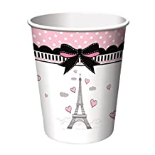 Creative Converting 8 Count Party in Paris Hot/Cold Cups, 9 oz, Pink/Black