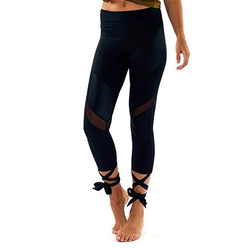 B Dressy Fashion Mesh Patchwork Bandage Cross Leggings Women High Waist Sporting Pants Fitness Gymming Lady Capris Leggins,Medium,Black