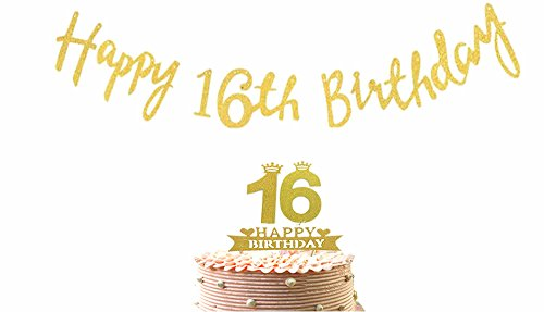 "16th Cake Topper & ""Happy 16th Birthday"" Banner Party Supplies Decoration - 2 in 1 Kit Sixteen Birthday Party Pack (16th Birthday Cake Ideas)"