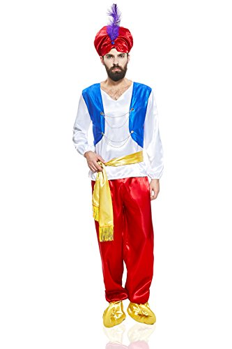 Adult Men Sultan Costume Emir Shah Rajah Little Mook Genie Arabian Nights Party (Medium/Large, Red / Blue / (Arabian Nights Themed Dresses)