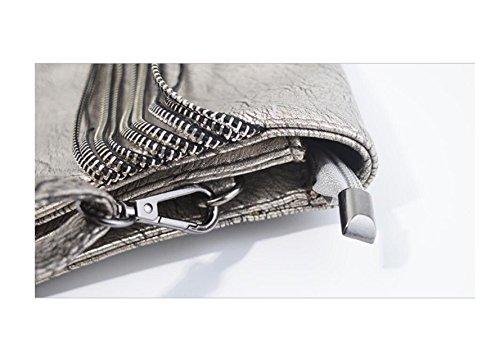 GSHGA Bolsos De Cuero Suave Para Mujer Bolsa De Hombro Multicolor Bolsas De Viaje Cadena De Almeja Bolsas Messenger,Silvergray Silvergray