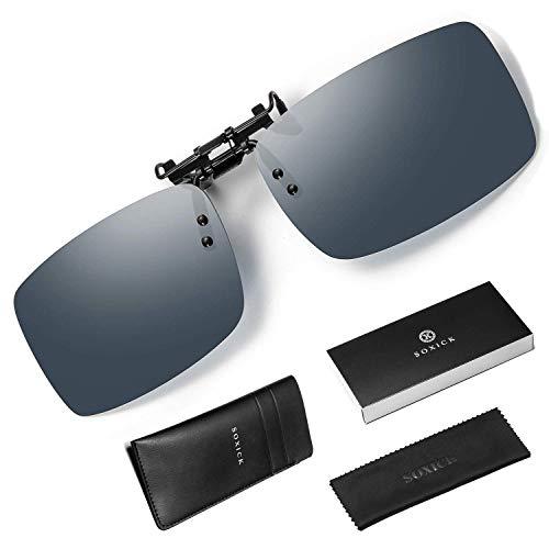 SOXICK Polarized Sunglasses for Men,UV400 Protection Mens Fishing Sports Driving Sunglasses Metal Frame (black/clip ()