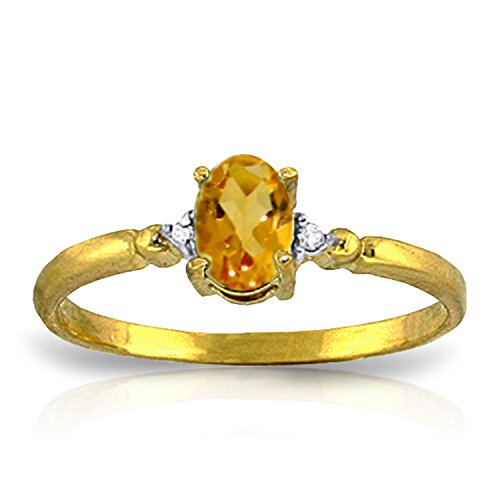Citrine Oval Shaped Ring (14k Yellow Gold Ring with Natural Diamonds and Oval-shaped Citrine - Size 9.5)