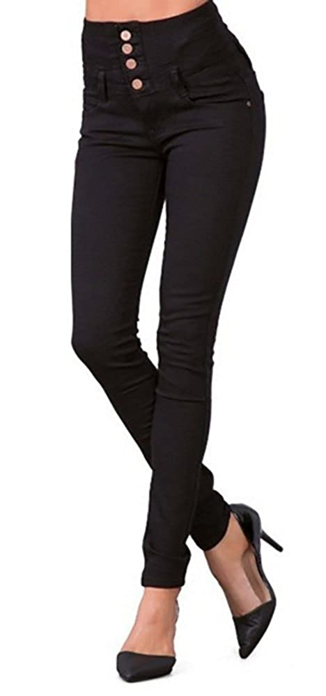 Women High-Waist Black Button Front Pencil Long  Skinny Jeans - DeluxeAdultCostumes.com