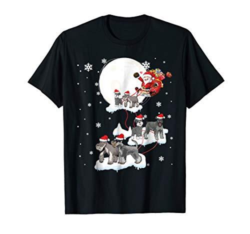 Santa Claus Riding Miniature Schnauzer Dogs Christmas Tshirt
