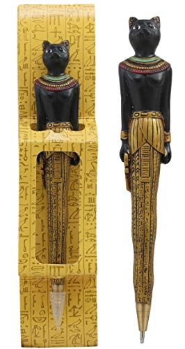 Ebros Egyptian Ubasti Temple of Bast Bastet Cat Ballpoint Pen Figural Gods Of Egypt Theme Pen With Egyptian Hieroglyphs Goddess Of Home Fertility Women And Family Protector Of The Kingdom - Figural Painted Hand