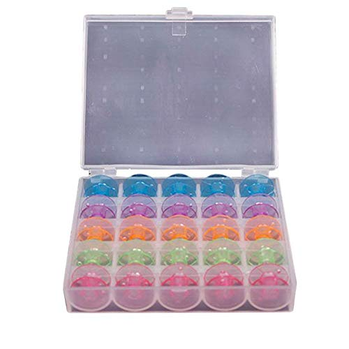 Let's dream 25 Grid Clear Storage Case Box With 25Pcs Empty Colorful Sewing Box Bobbins Spool for Brother Janome Singer Elna Sewing Machine