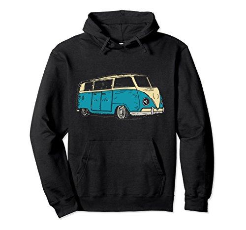 Unisex Surf Van Beach Hippie Style Touring Van Hoodie Small Black