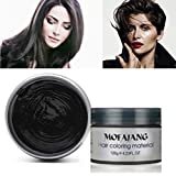 Hair Color Wax,One-time Temporary Modeling Natural Color Hair Dye Wax,Natural Matte Hairstyle for party.Cosplay, Masquerade,Nightclub,Halloween (Black)