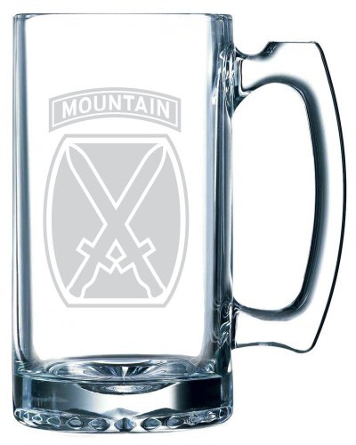 (United States Army 10th Mountain Division Etched 25oz Libbey Sports Beer Mug)