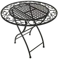 CALEIDO Gartentisch Klapptisch Beistelltisch Bistrotisch Pisa dunkelbraun rund