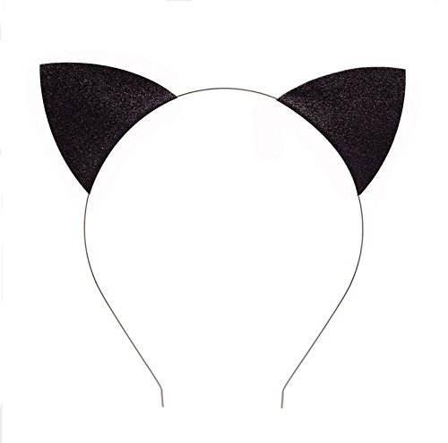 EBTOYS Cat Ears Headband Hair Hoops Glitter Hairband Headwear for Daily and Party Favors Costume Accessories (Black)