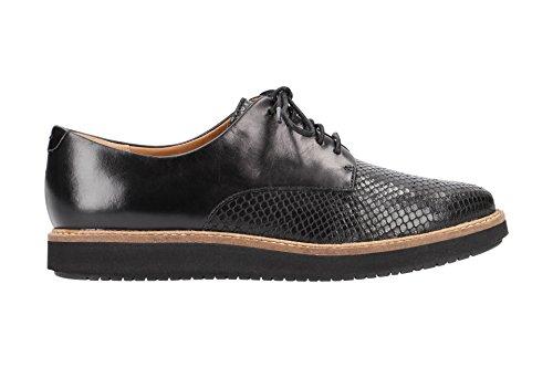 Zapatos Cordones Piel de 26120449 con Clarks Negro Mujer Lisa 4 OpwnIqXE