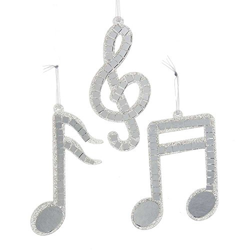 Kurt Adler 4.375-Inch - 5-Inch Silver Mirror Musical Note Ornament Set of (Musical Note Ornaments)