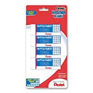 Pentel Hi-Polymer Block Eraser, Large, White, Pack of 4 (ZEH10BP4)