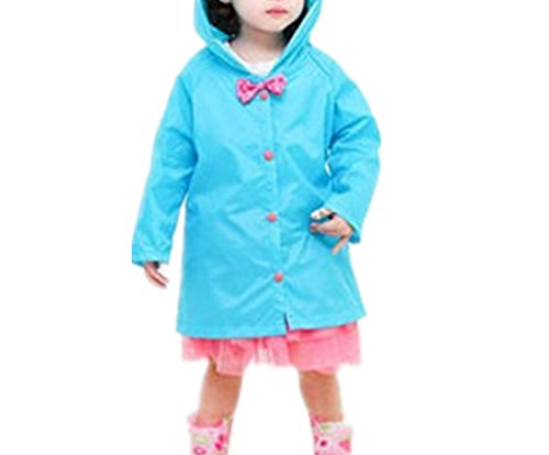 Taiduosheng Age 2~10 Kids Hooded button down Jacket Rain Raincoat With bow Cover Long Rainwear 2XL by Taiduosheng
