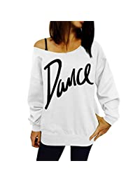 Forart Womens One Shoulder Long Sleeve Letter Print Casual T-Shirt Tops Pullover Sweatshirt