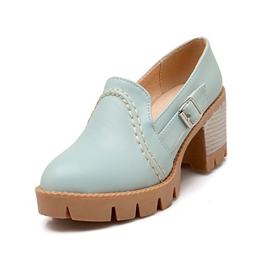 Heels BalaMasa Shoes Blue Wedges Buckle Womens Oxfords Urethane Chunky ZESqU