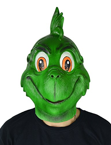 Grinch Latex Mask (LarpGears Deluxe Novelty Christmas / Halloween Latex Grinch Costume Mask for Party)