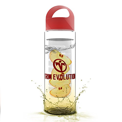Trim Evolution Fruit Infusion Water Bottle For Use With Fruits, Vegetables & Herbs, Premium Non-Toxic Plastic, Leak-Proof, Shatter-Proof & Dishwasher-Safe, Affordable & Reusable (Red)