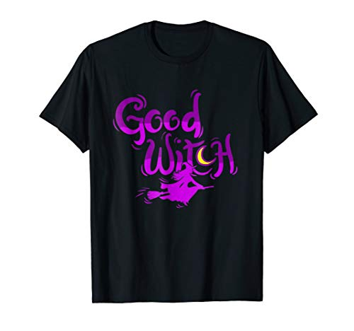 (Good Witch Halloween T shirt - Witch flying on Broom)