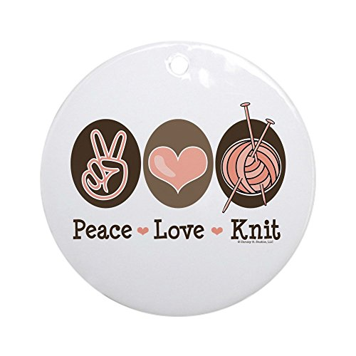 CafePress Peace Love Knit Knitting Ornament (Round) Round Holiday Christmas Ornament ()