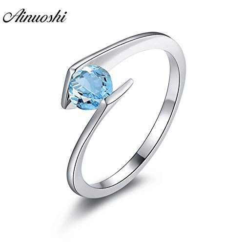 - Natural Blue Topaz Ring | 925 Sterling Silver Jewelry | Round Cut Gemstone Ring | Engagement Wedding Solitaire Ring (0.5ct)